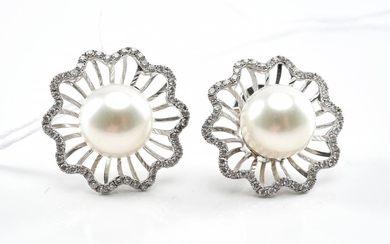 A PAIR OF SOUTH SEA PEARL AND DIAMOND EARRINGS IN 18CT WHITE GOLD