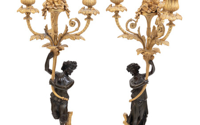 A Pair of Louis XVI Style Parcel Gilt and Bronze Three-Light Figural Candelabra