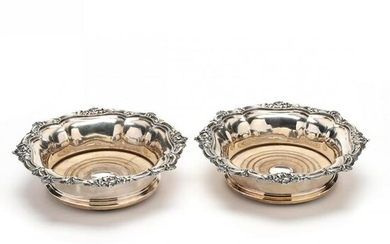 A Pair of Silverplate Bottle Coasters