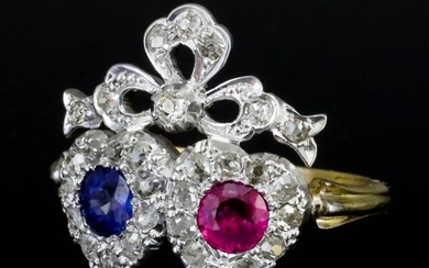 A Sapphire, Ruby and Diamond Ring, 20th Century, in...