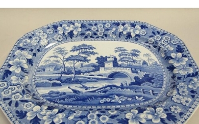 A Spode blue and white pearlware meat dish transfer printed ...