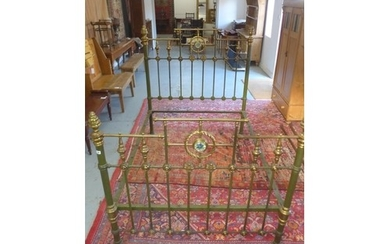 A Victorian brass and iron 4 foot 6 inches bed, with mother ...