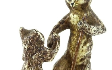 A cold painted bronze group, of a cat and a kitten, in the m...