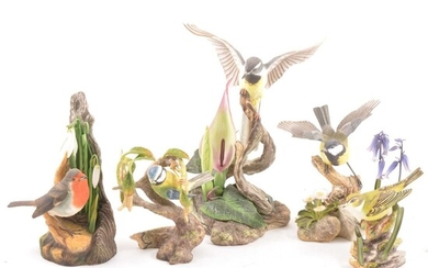 A collection of Boehm porcelain bird models