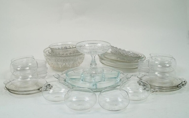 A collection of mid-20th century and later glass dishes,to include,...