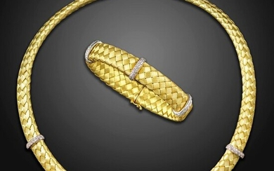 A diamond-set 18ct bracelet and collar necklace, with woven fabric pattern in textured gold, pave-set diamond bars and a diamond-set clasp, initials LL and hallmarks for 1997, necklace 41cm long, bracelet 6cm internal diameter, 107g total