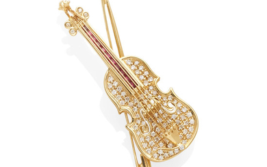 A gold, diamond and ruby violin brooch