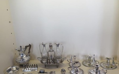 A good collection of silver plate including a good quality c...