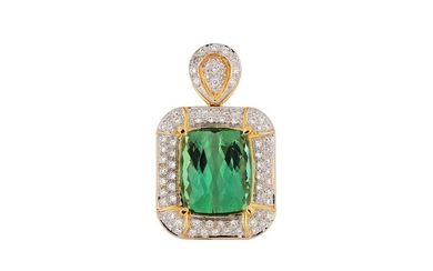 A green tourmaline and diamond pendant