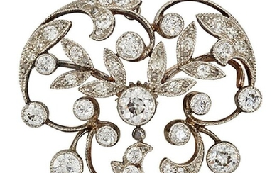 A late Victorian diamond cluster brooch, of...
