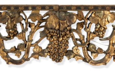 A mixed collection of carved, pierced and gilt-decorated wood friezes, panels and arch-parts
