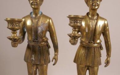 """A pair of brass candlesticks in the form of Moors, 14"""" x 4"""",..."""