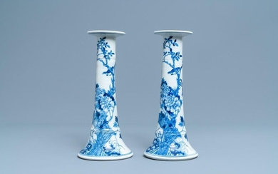 A pair of large Chinese blue and white candlesticks, 19th C.
