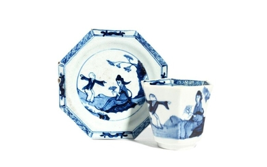 A rare Richard Chaffers (Liverpool) blue and white octagonal beaker and saucer c.1758-60, painted directly from the Chinese with the Jumping Boy pattern of an exuberant Chinese youngster beside his seated mother, four character script mark, a restuck...