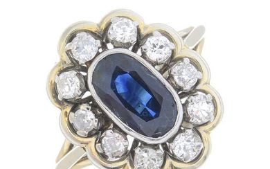 A sapphire and old-cut diamond cluster ring.