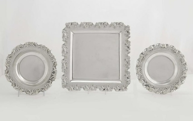 A three piece sterling silver table service
