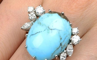 A turquoise and vari-cut diamond cocktail ring.