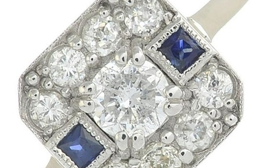 A vari-cut diamond cluster ring, with sapphire