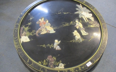 A vintage black painted Chinese carved soapstone and gilt co...