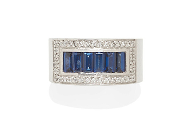 A white gold, sapphire and diamond band