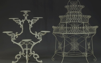 A white-painted cast-iron jardinière stand, second half 20th Century, of...