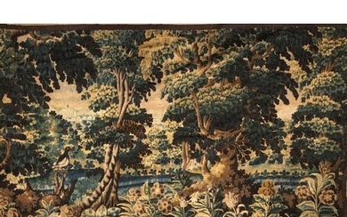 AN 17TH/18TH CENTURY FLEMISH VERDURE TAPESTRY WALL HANGING W...