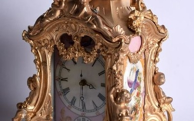 AN ORMOLU MANTEL CLOCK INSET WITH PINK SEVRES STYLE