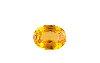 AN UNMOUNTED OVAL ORANGE SAPPHIRE, together with certificate...