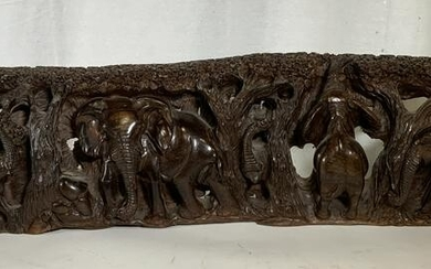 African Wooden Relief Panel, Elephant Grouping