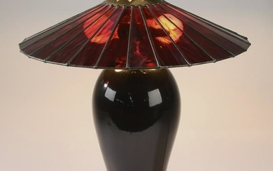"Amethyst glass table lamp, 19""h"