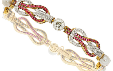 Antique Natural Pearl, Diamond, Synthetic Ruby, Platinum-Topped Gold Bracelet...