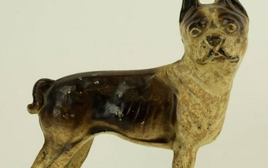 Antique Painted Cast Iron Bull Dog Doorstop