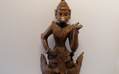 "Antique large wood carving of a deity (possibly Thai?) - 39""..."