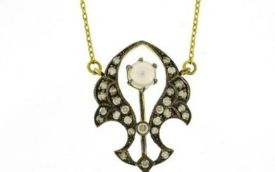 Antique style 9ct gold necklace set with diamonds and