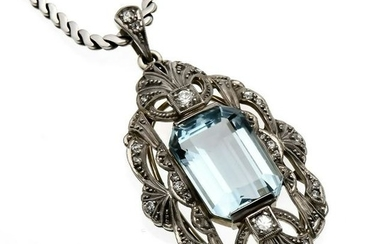 Aquamarine diamond pendan