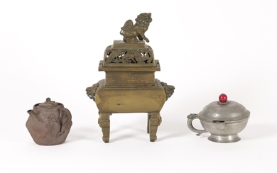 Asian Bronze Censer and Cover, Enameled Yixing Teapot and a Chinese Pewter Vessel FR3SHLM