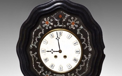 BLACK LACQUERED MOTHER OF PEARL INLAYED CLOCK