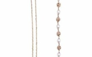 BRACELET in yellow gold 750 thousandths and pearls (not tested), we join a PENDANT in pink gold 750 thousandths holding an old cut diamond on a chain in gold 750 thousandths. Gross weight: 11.3g A yellow gold and pearls bracelet with a diamond rose...