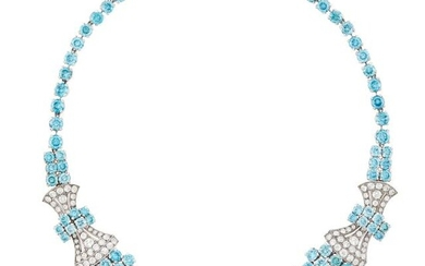 Birk's Low Karat White Gold, Blue Zircon and White Sapphire Necklace