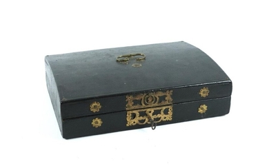 Black leather messenger case, gold metal ornamentation.