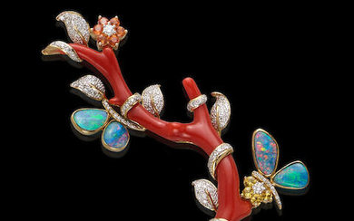 Branch Coral and Boulder Opal Brooch