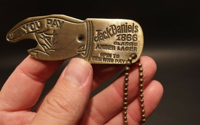 Brass Jack Daniels Bottle Cap Opener Spinner