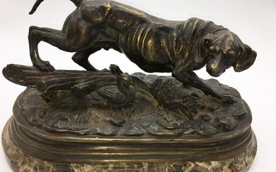 Bronze of Hunting Dog & Pheasant PAUL EDOUARD