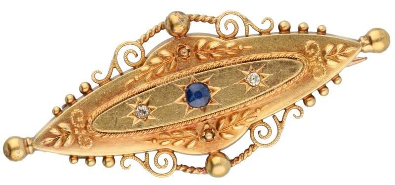Brooch yellow gold, ca. 0.02 carat diamond and sapphire - 14 ct.