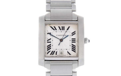 CARTIER - a mid-size stainless steel Tank Francaise bracelet watch.