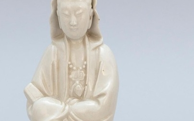 """CHINESE BLANC DE CHINE PORCELAIN FIGURE OF SEATED GUANYIN Height 7""""."""