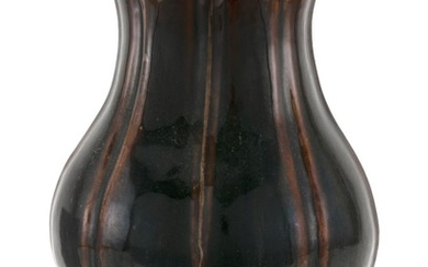 """CHINESE BROWN GLAZE PORCELAIN VASE In ribbed pear form. Height 13.5""""."""