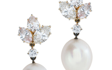 CULTURED PEARL AND DIAMOND EARRINGS, HARRY WINSTON