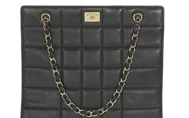 """Chanel Black Kidskin """"Chocolate Bar"""" Quilted Tote"""