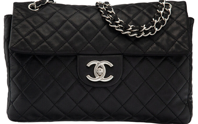 Chanel Black Quilted Caviar Leather Maxi Flap Bag with...